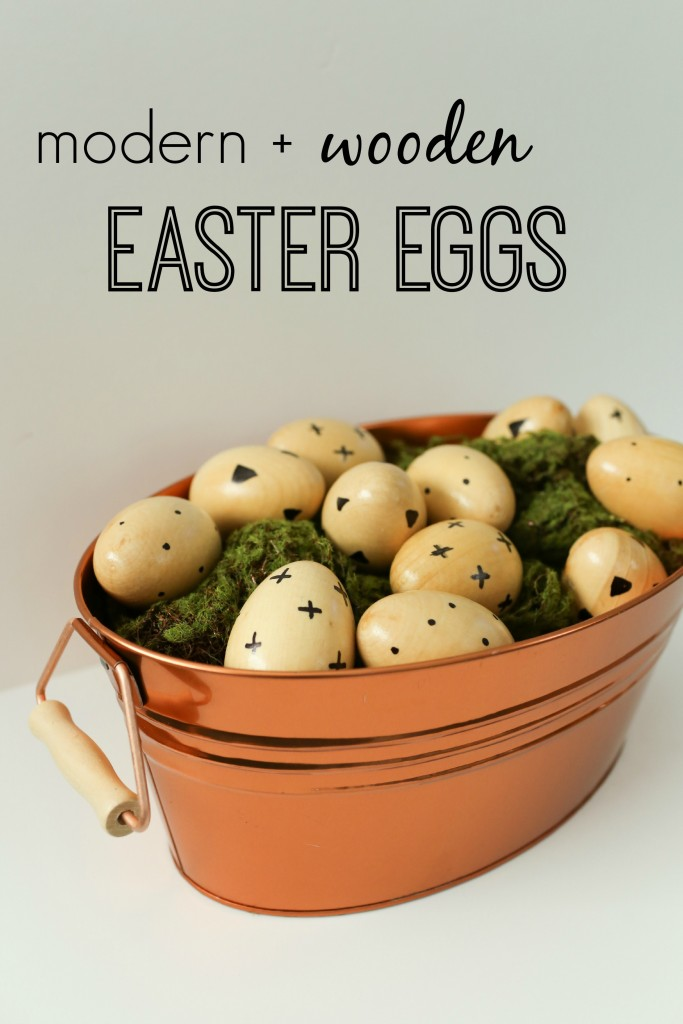 A modern take on Easter egg decorating using faux wooden eggs and a sharpie!  www.homestead128.com