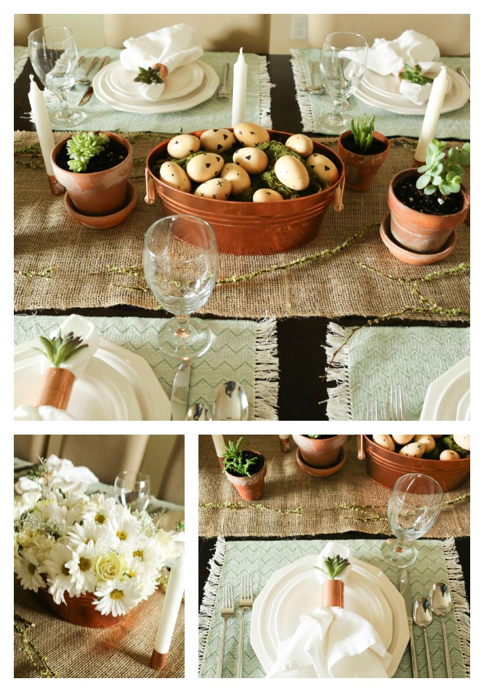 Create a spring table using neutrals light green and pops of copper accents. The & Spring Tablescapes | Setting your table for spring.