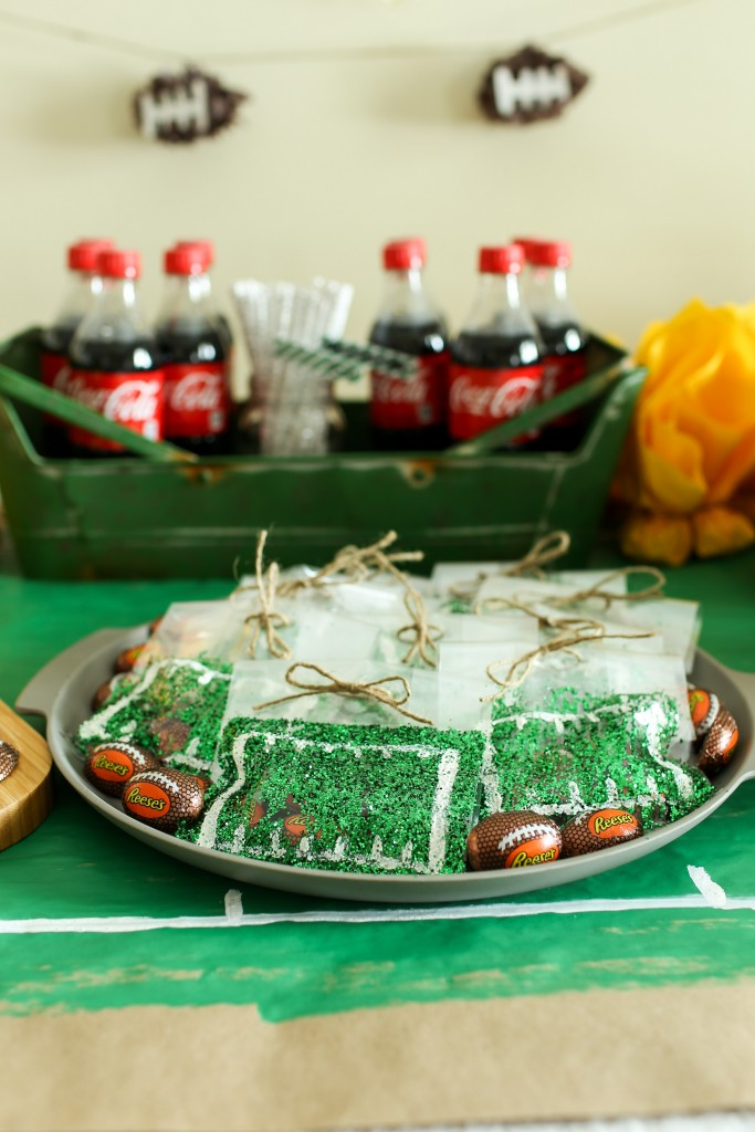 Football field treat bags for a big football party!