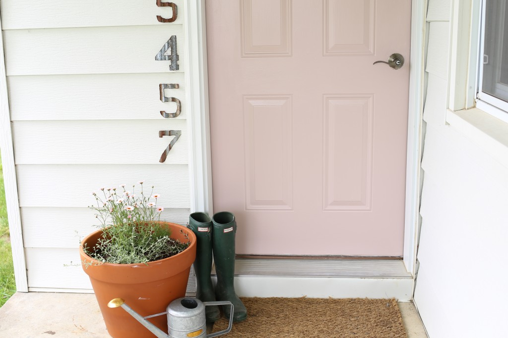 Blush front door on the farm. The Dempster Logbook.