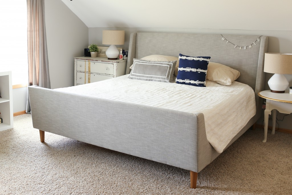 Navy Blue, Gray And Gold Master Bedroom
