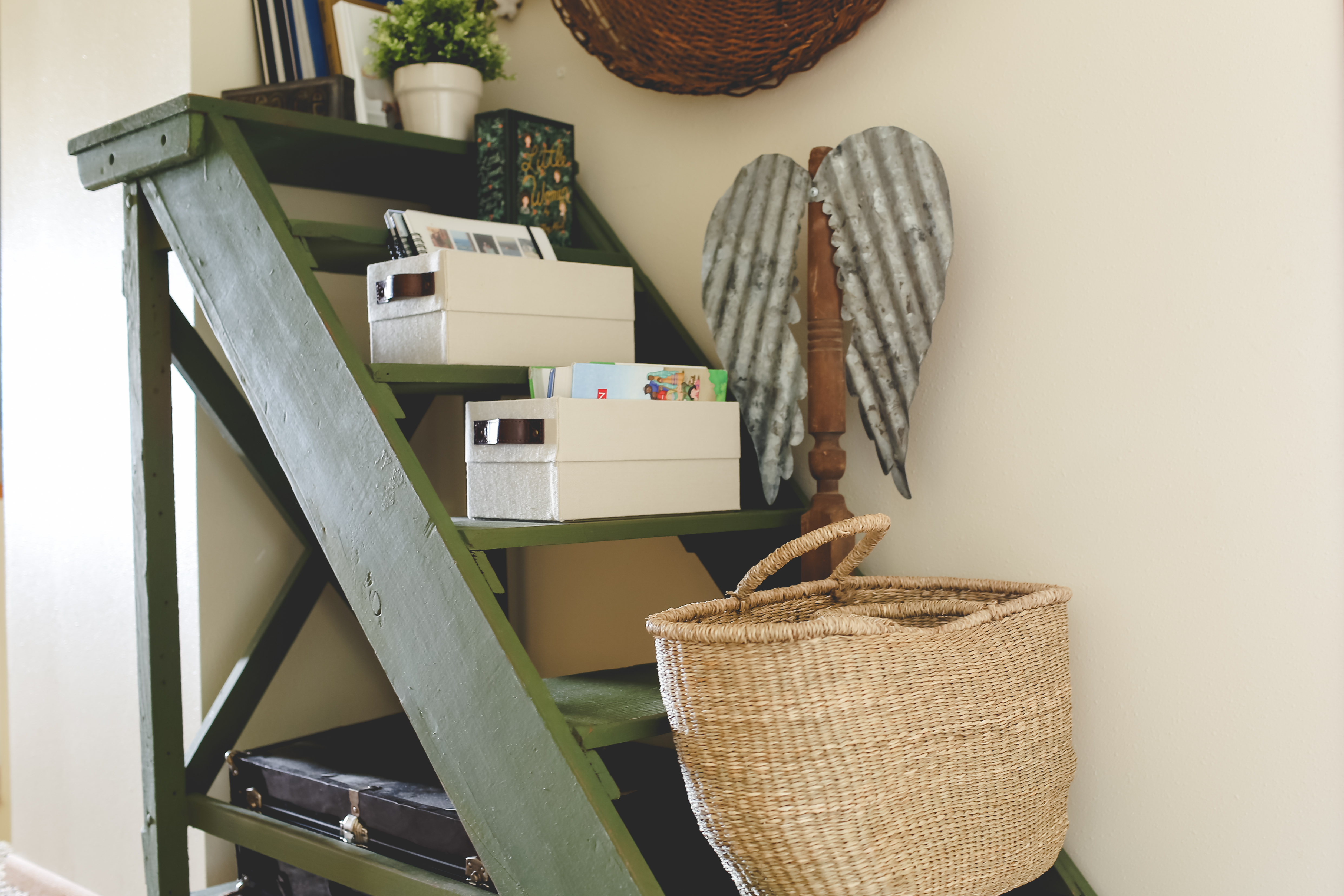 Wooden Green Boat Ladder Turned Bookshelf