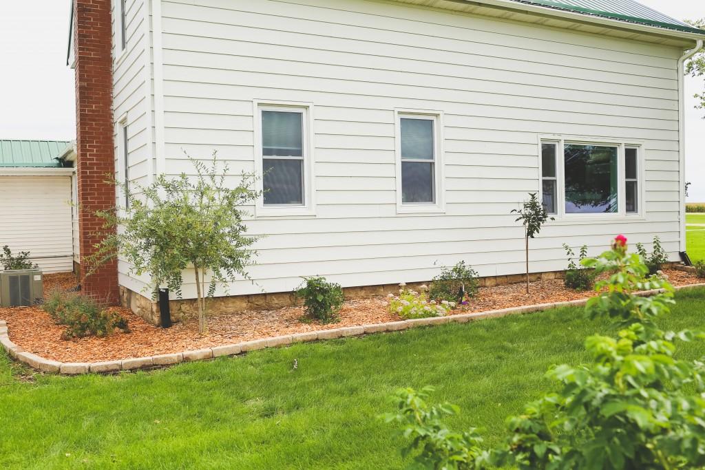 Farmhouse landscaping progress.