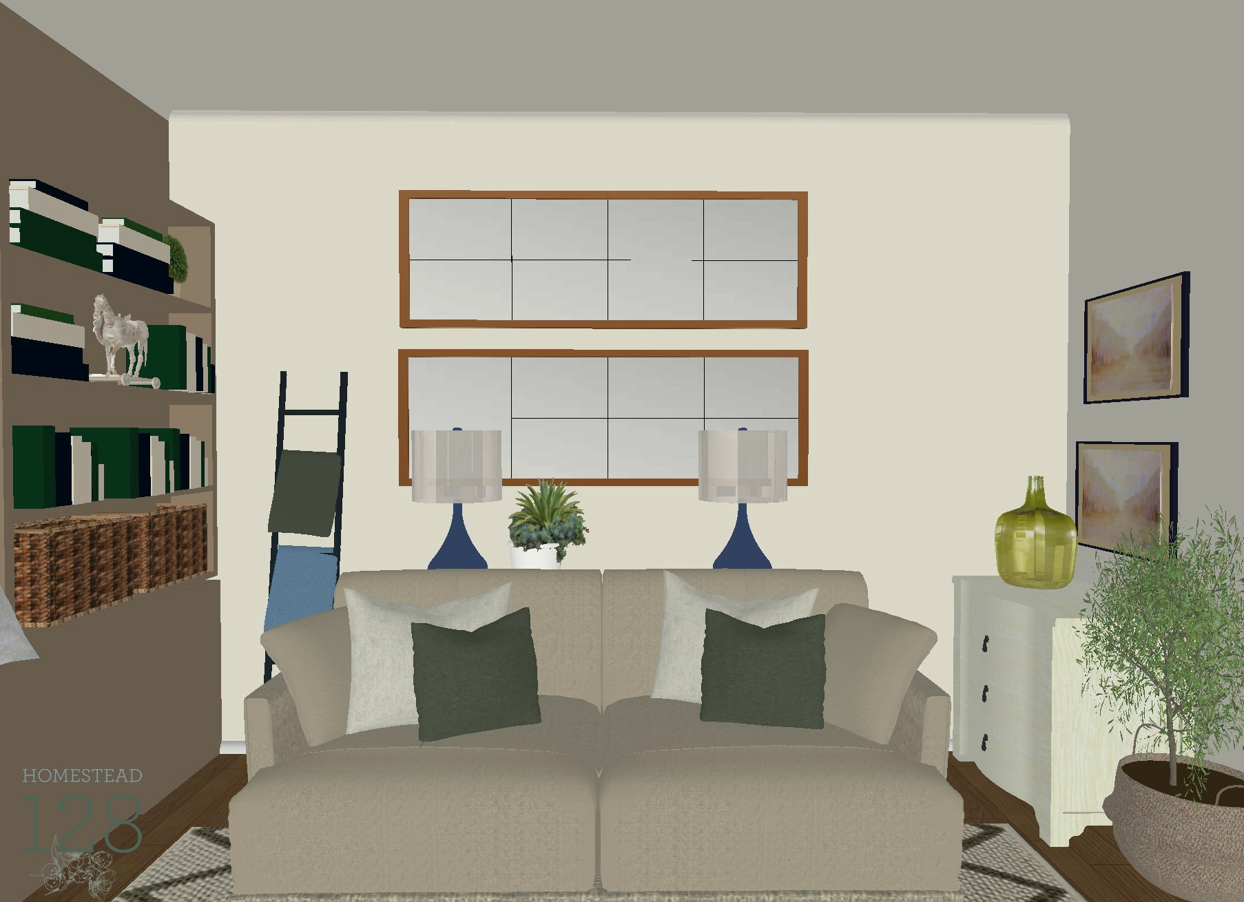 Traditional Living Room Design Plan with Neutrals, Blues And Greens.