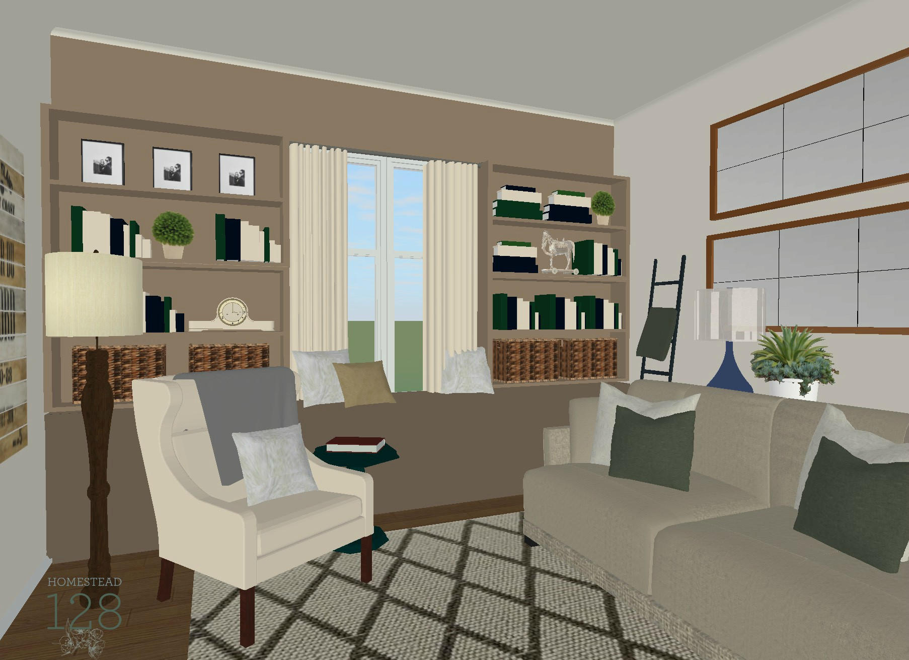 living room plans. A traditional style living room design plan includes neutrals  blues greens and a touch Traditional Living Room Design Plan with Neutrals Blues And Greens