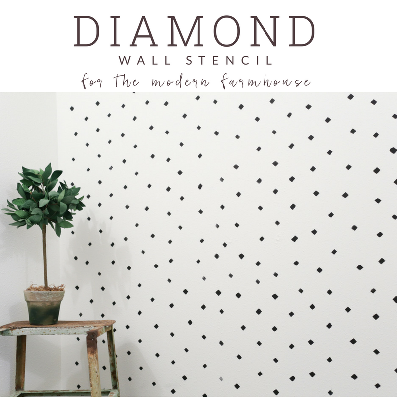 A diamond wall stencil pattern for the an accent wall. The black and white wall is perfect for the modern farmhouse bathroom.