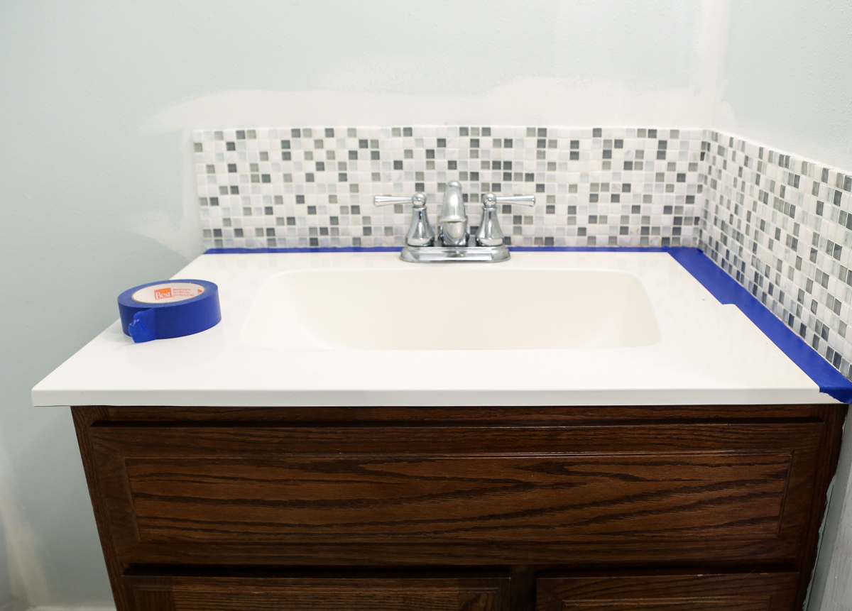 Diy bathroom tile - Tape Off And Prep The Tile Backsplash For Painting From Homestead 128
