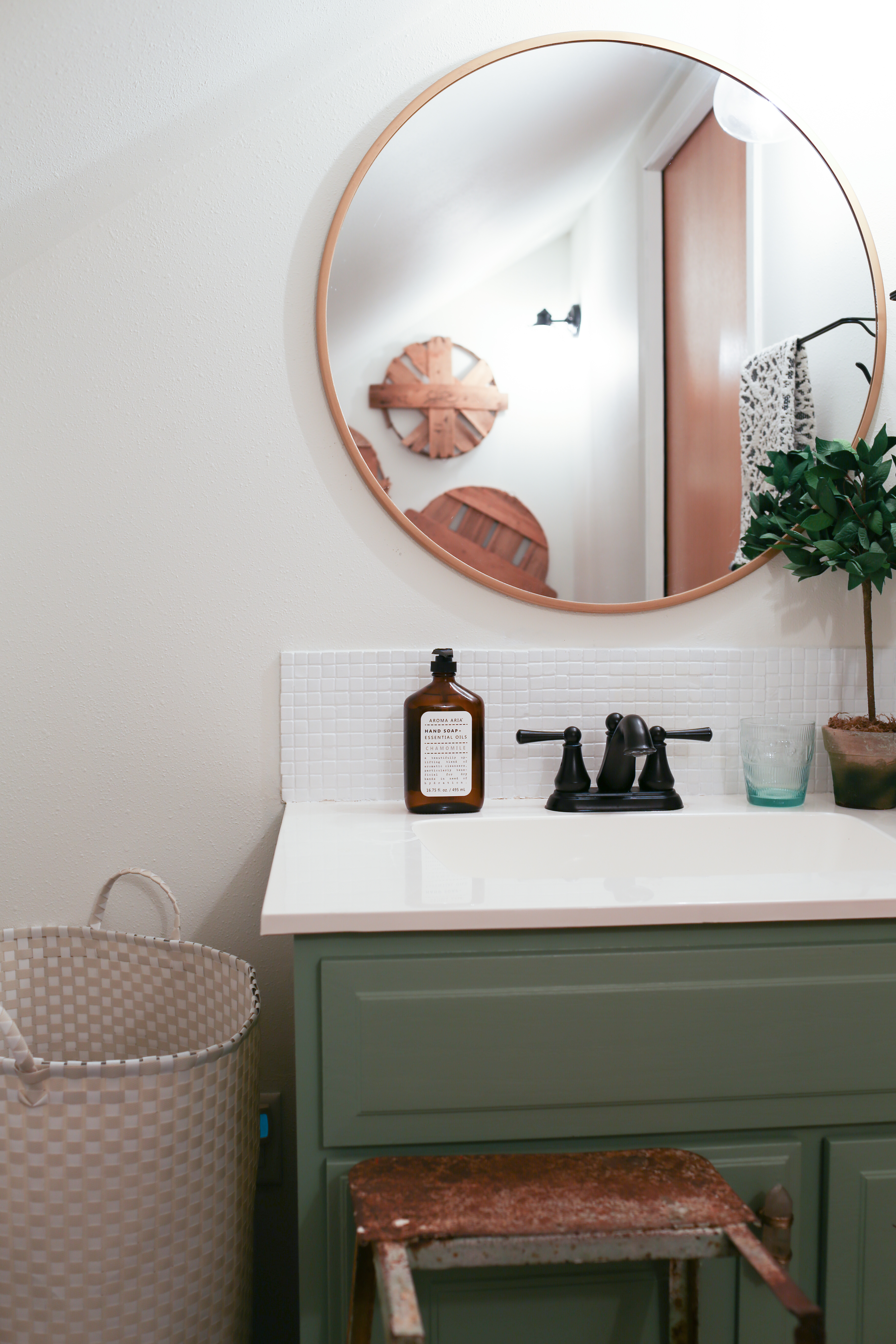 Modern Farmhouse Bathroom With Green Cabinetry And Gold Black Accents From Homestead 128