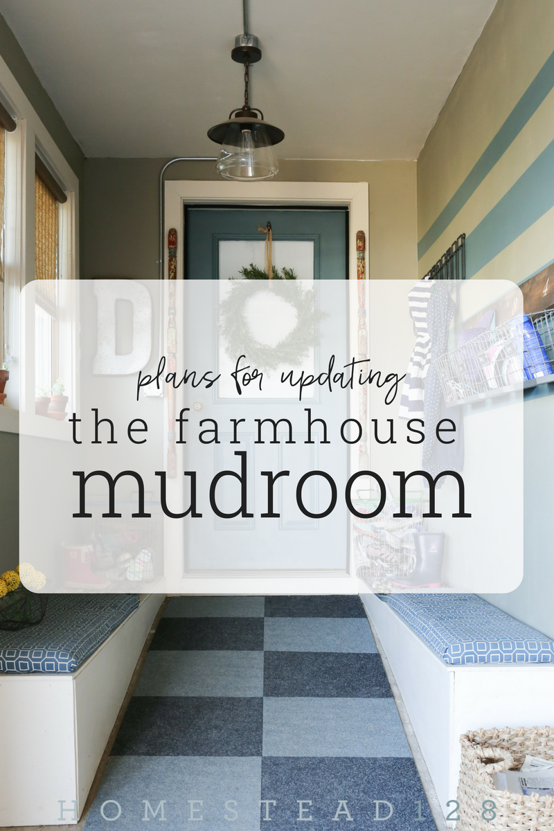 The garage ramp was turned into a mudroom. And now it is time to update the style of the tiny mudroom. From Homestead 128. Part of the One Room Challenge.