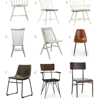 Metal and Leather Farmhouse Dining Chairs