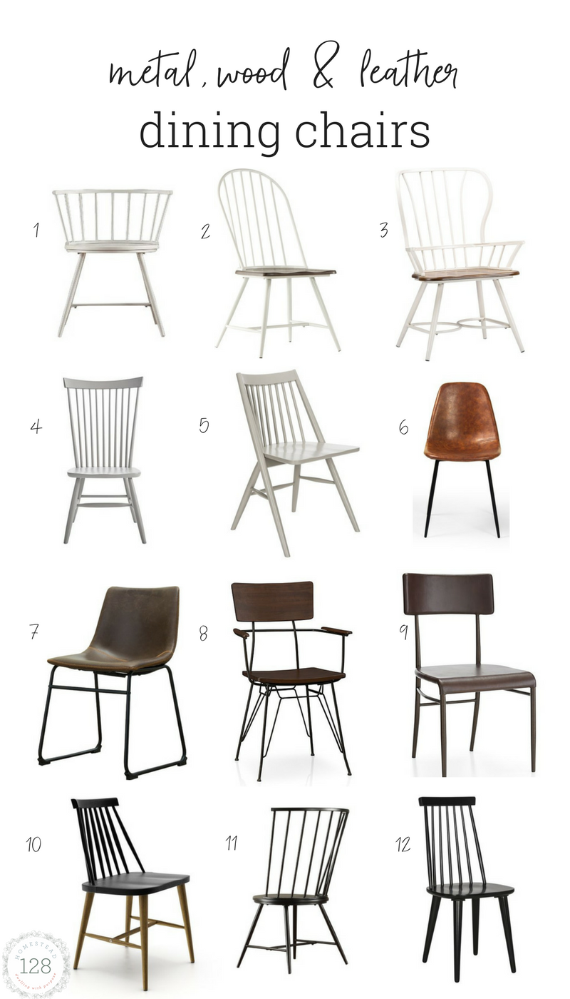 The 12 best chairs to fit the modern farmhouse dining room.  Arm style dining chairs, and side dining chairs in metal, wood, and leather.