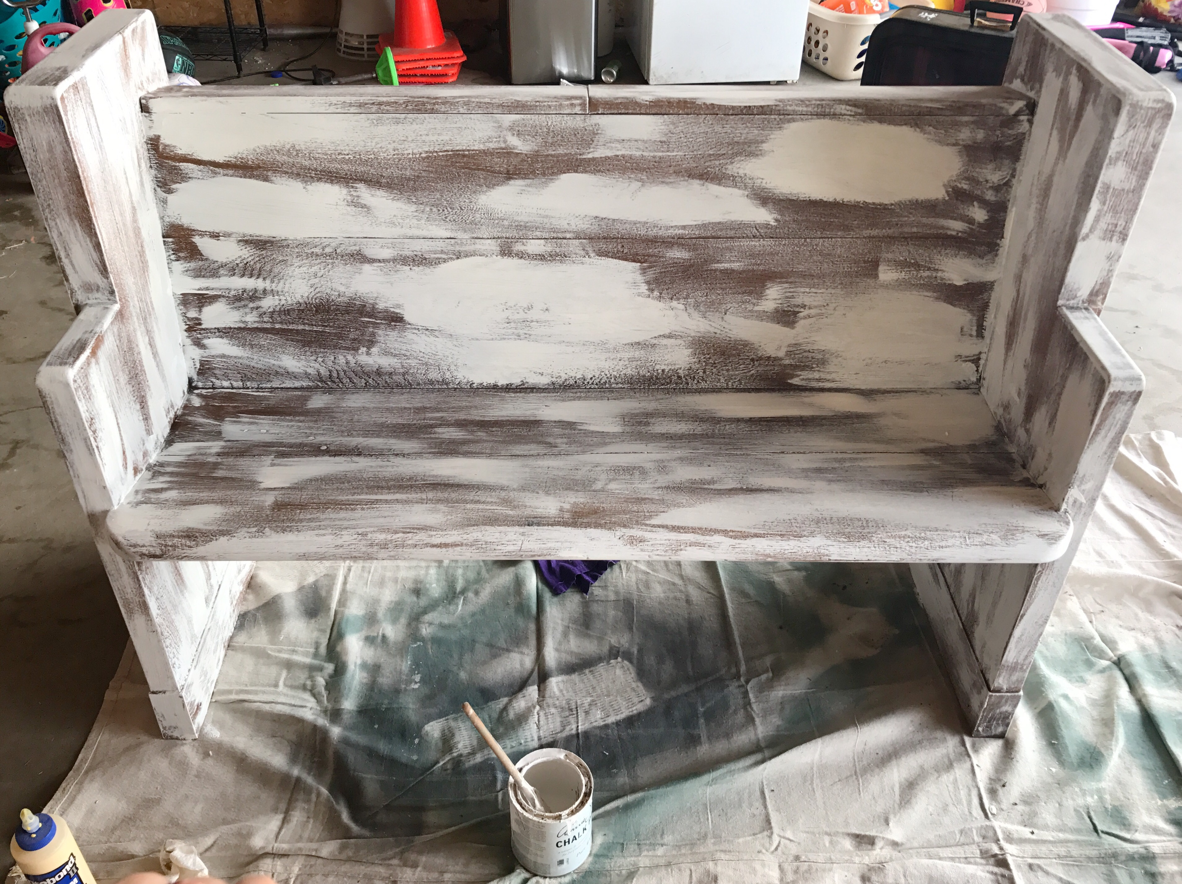 White, distressed church pew DIY.