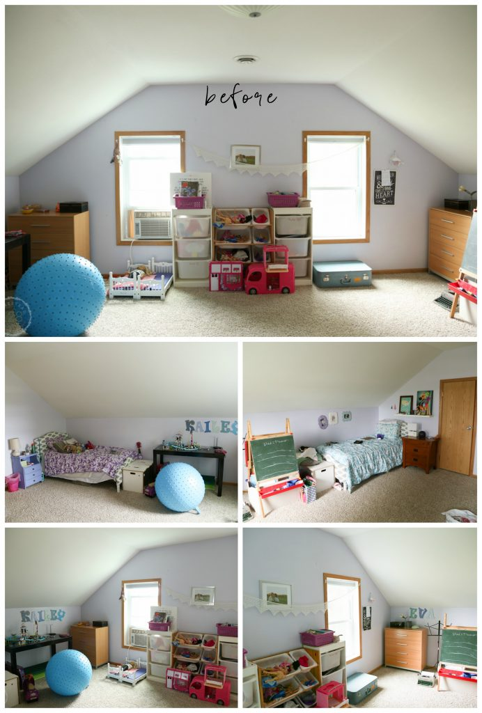 Before look at the shared girls bedroom.