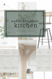 This modern farmhouse kitchen incorporates light wood tones, white, green, and metal.