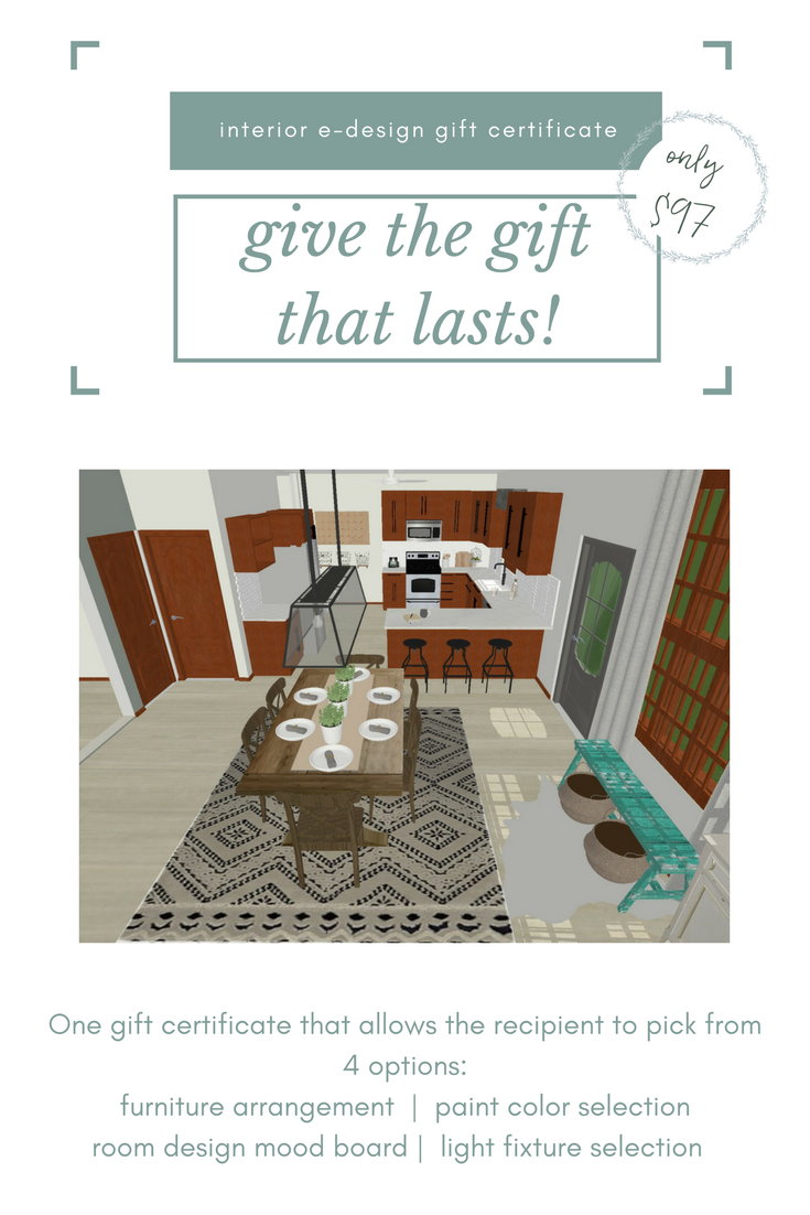 Give An Interior E-Design Gift Certificate For Birthdays