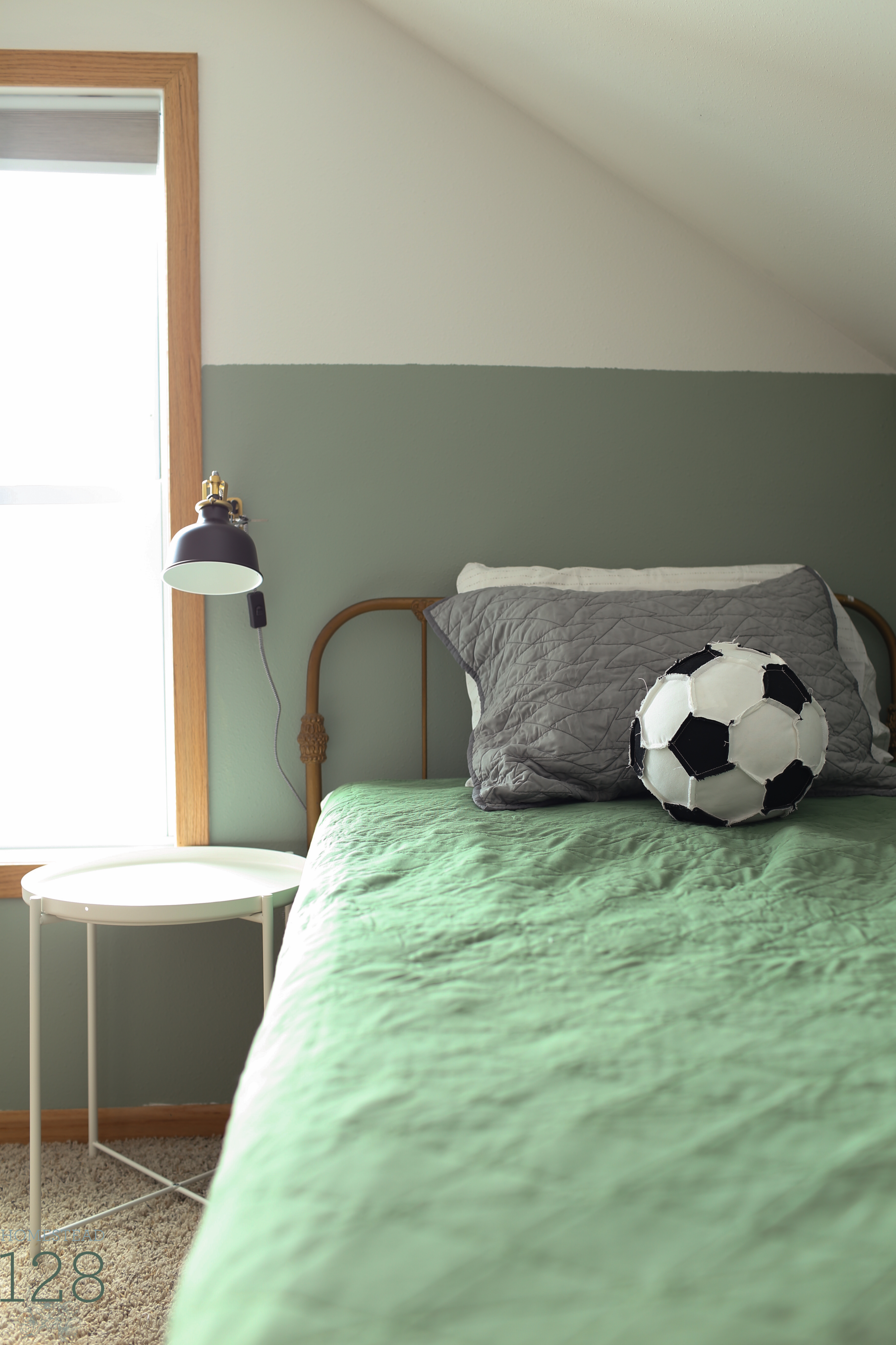 Boys bedroom wall sconce and green, gray and white colors.