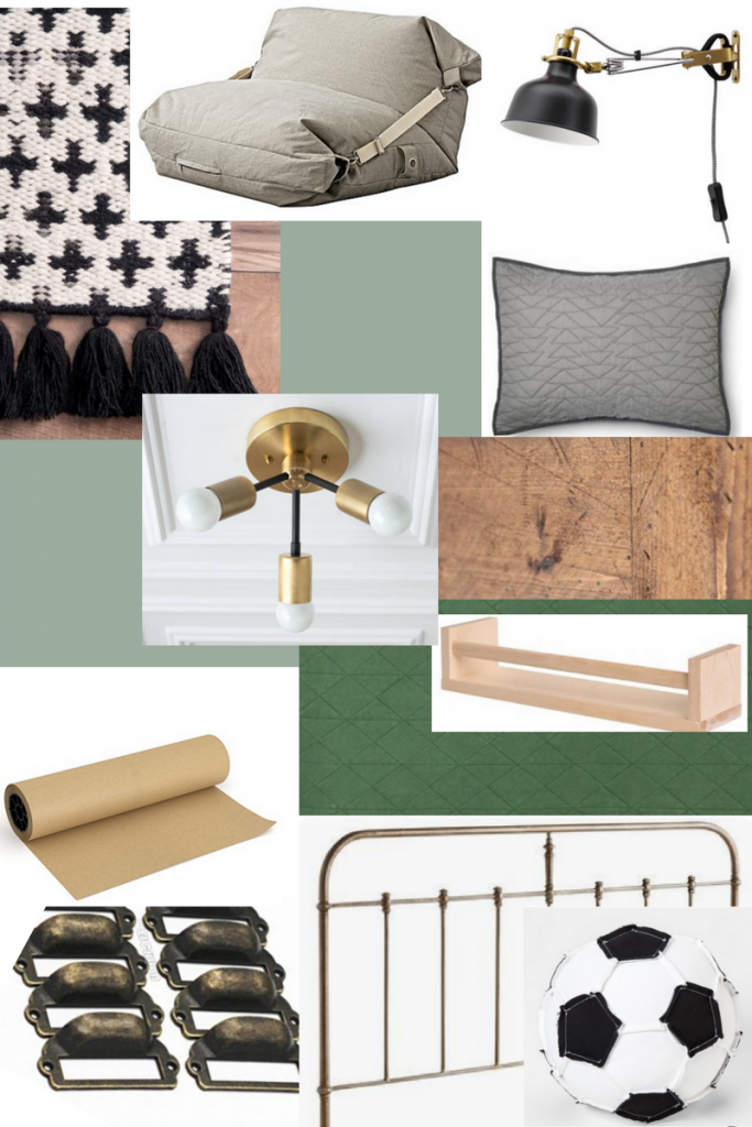 Mood board full of images for putting together a shared boys bedroom with green, gold and brass touches. Farmhouse style bedroom.