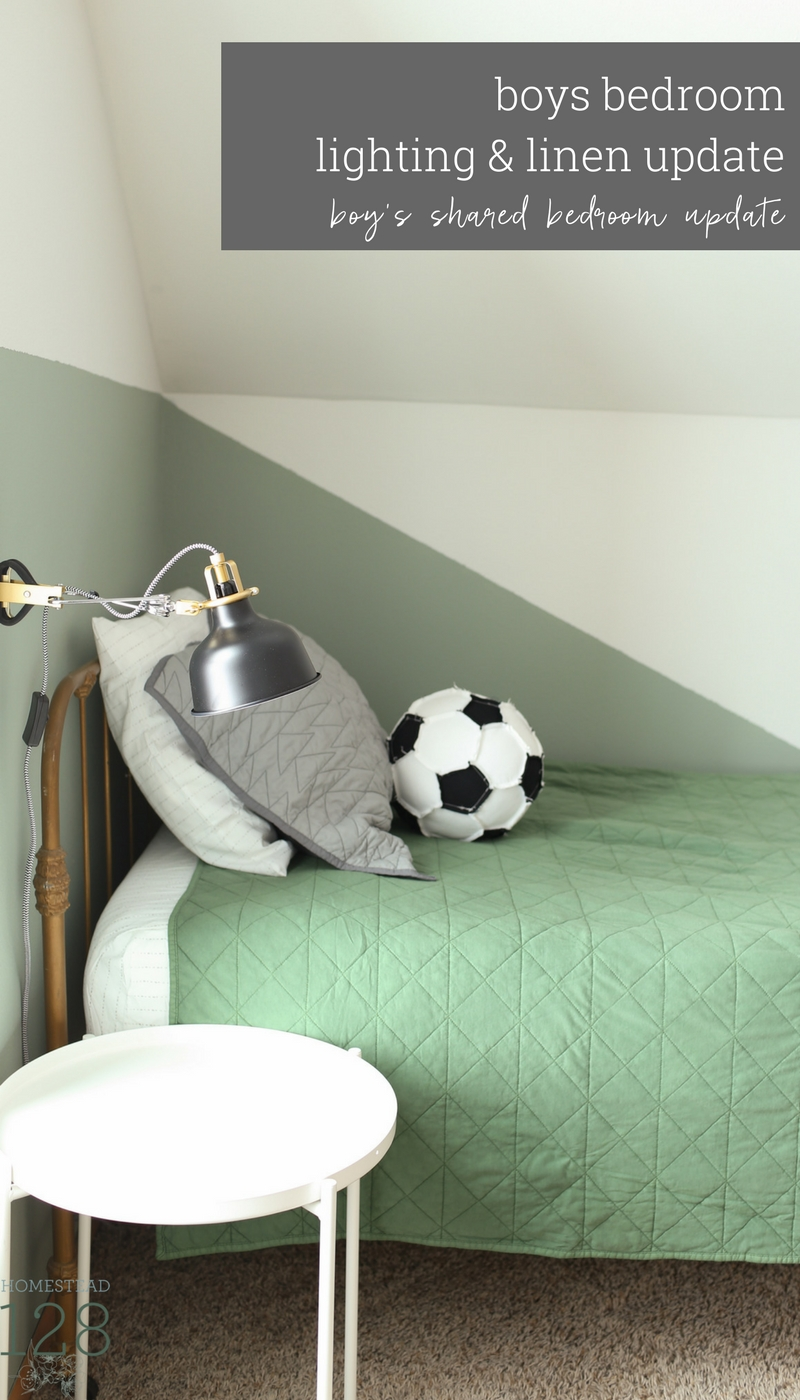 The Boys Shared Bedroom Is Updated With An Industrial Semi Flushmount Brass  And Black Light