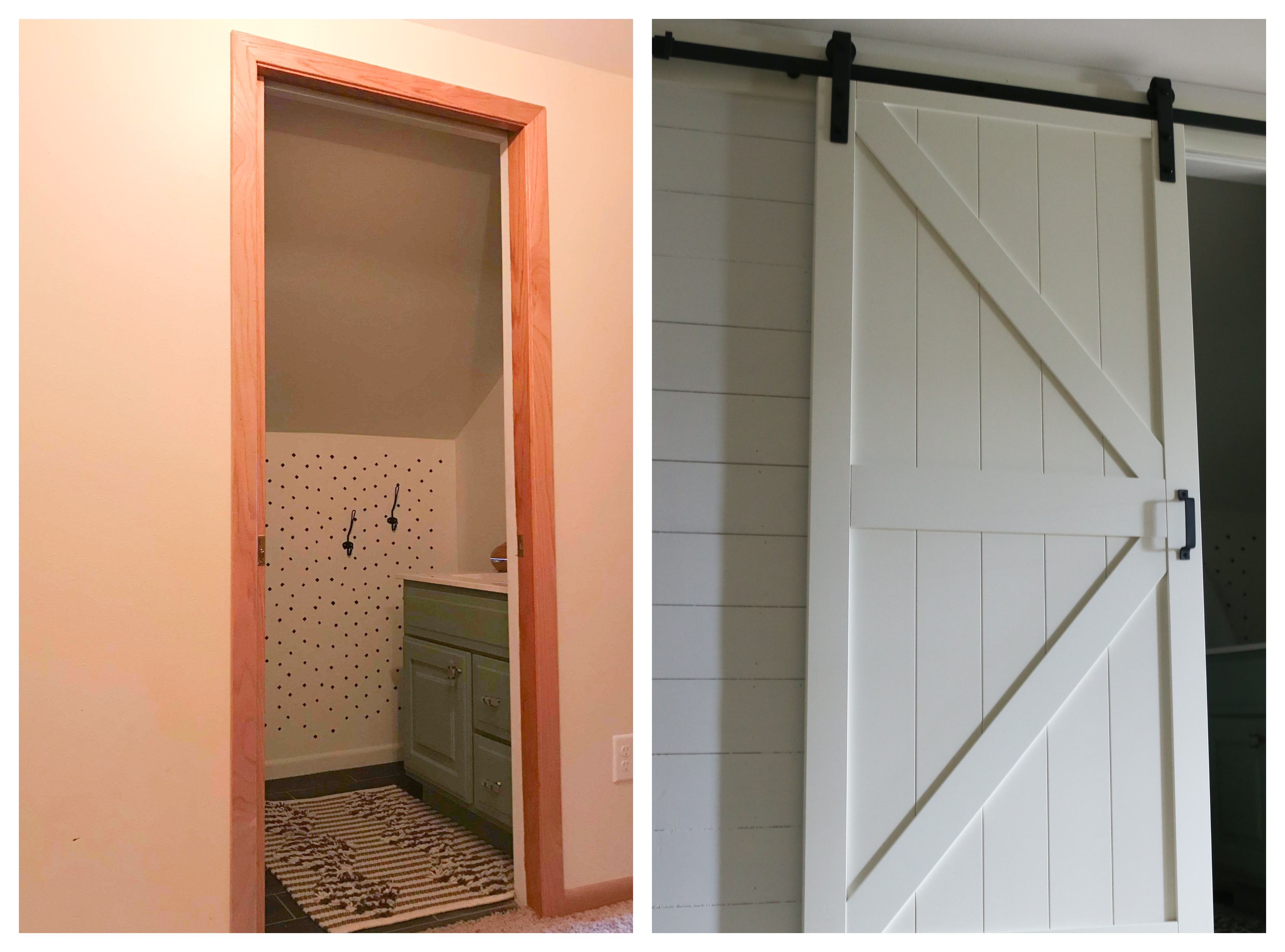 The builder basic hallway is updated with faux shiplap and a sliding barn door.
