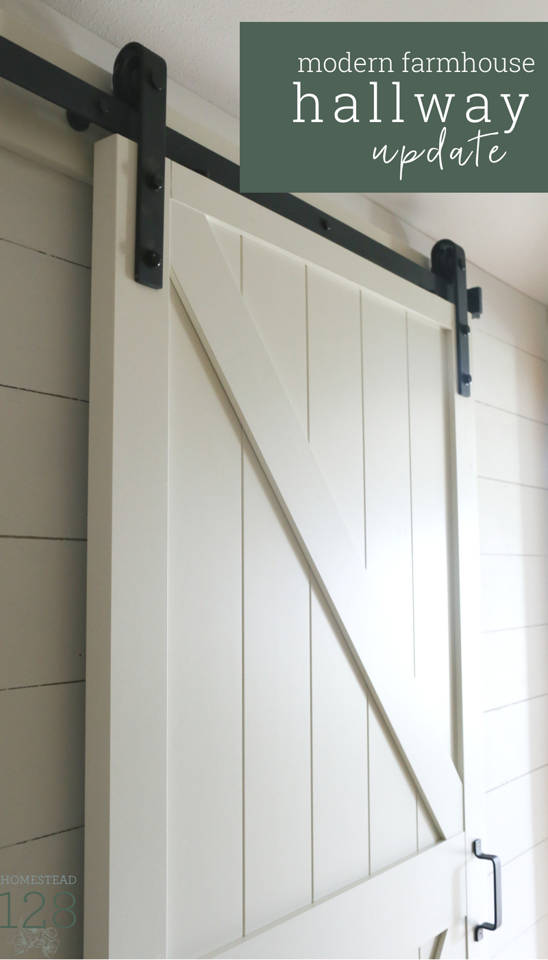 Simple white touches take this builder basic hallway to a modern farmhouse style space.