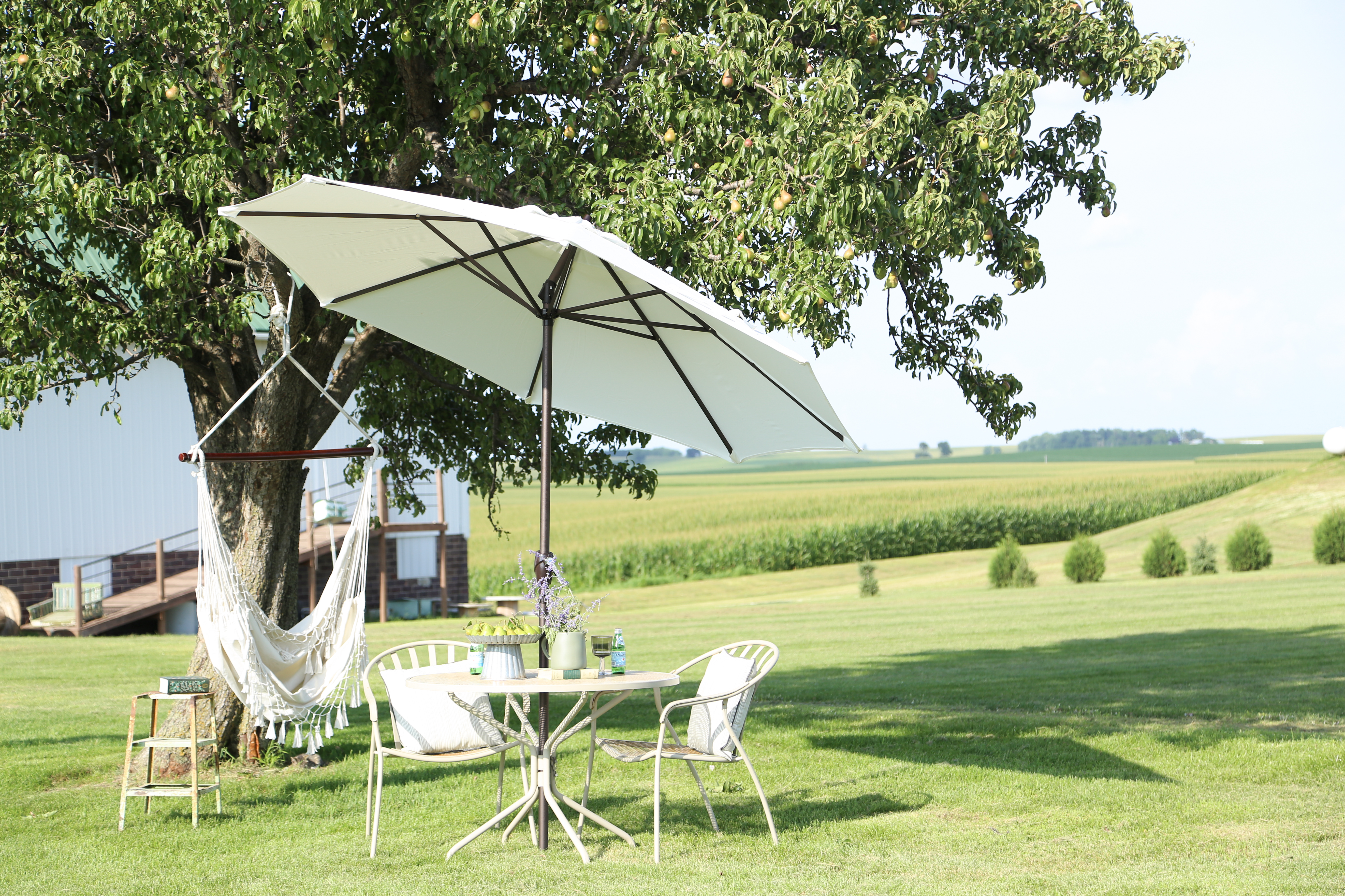 A small table and chairs with an umbrella is is perfect setup for the farm backyard.