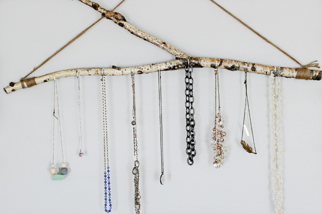 Hang jewelry in the bedroom on a DIY jewelry branch. The Dempster Logbook.