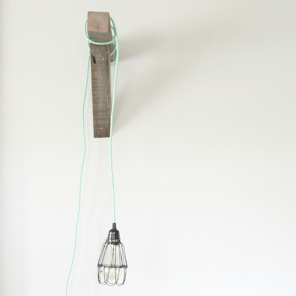 Beautiful modern farmhouse reading light that you can DIY!  Pick from a huge selection of cord colors to personalize!