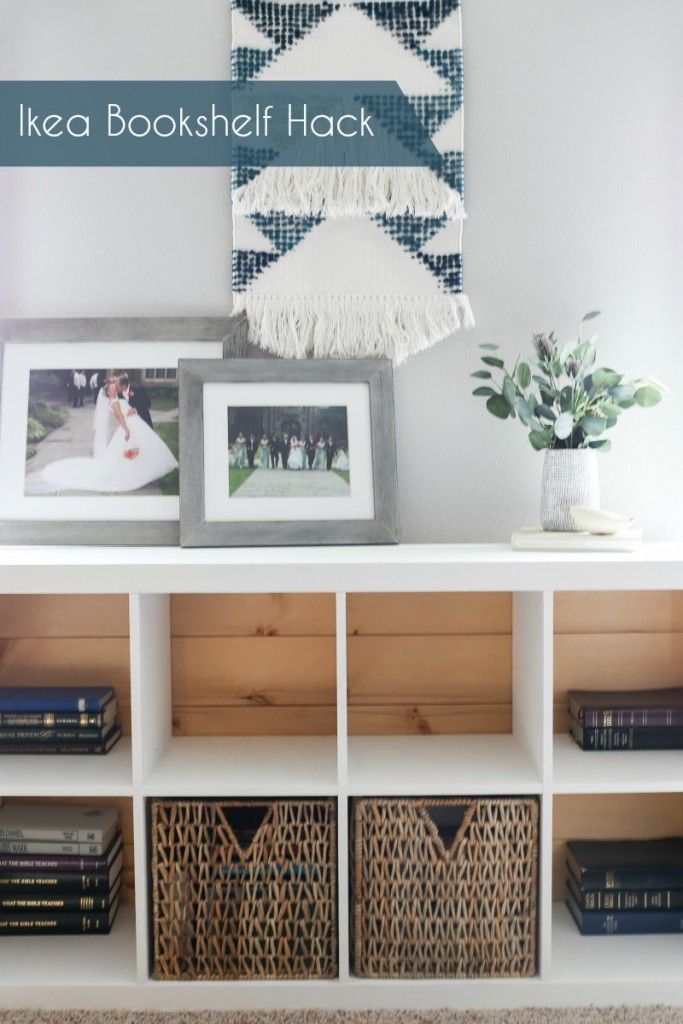 Ikea bookshelf hack. Adding milk paint and a pallet back to give a bookshelf a new look! homestead128.com