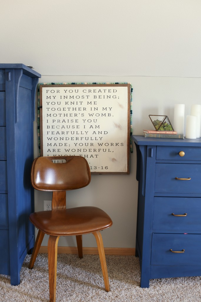 Vintage bentwood chair with farmhouse art and blue dresser. The Dempster Logbook.