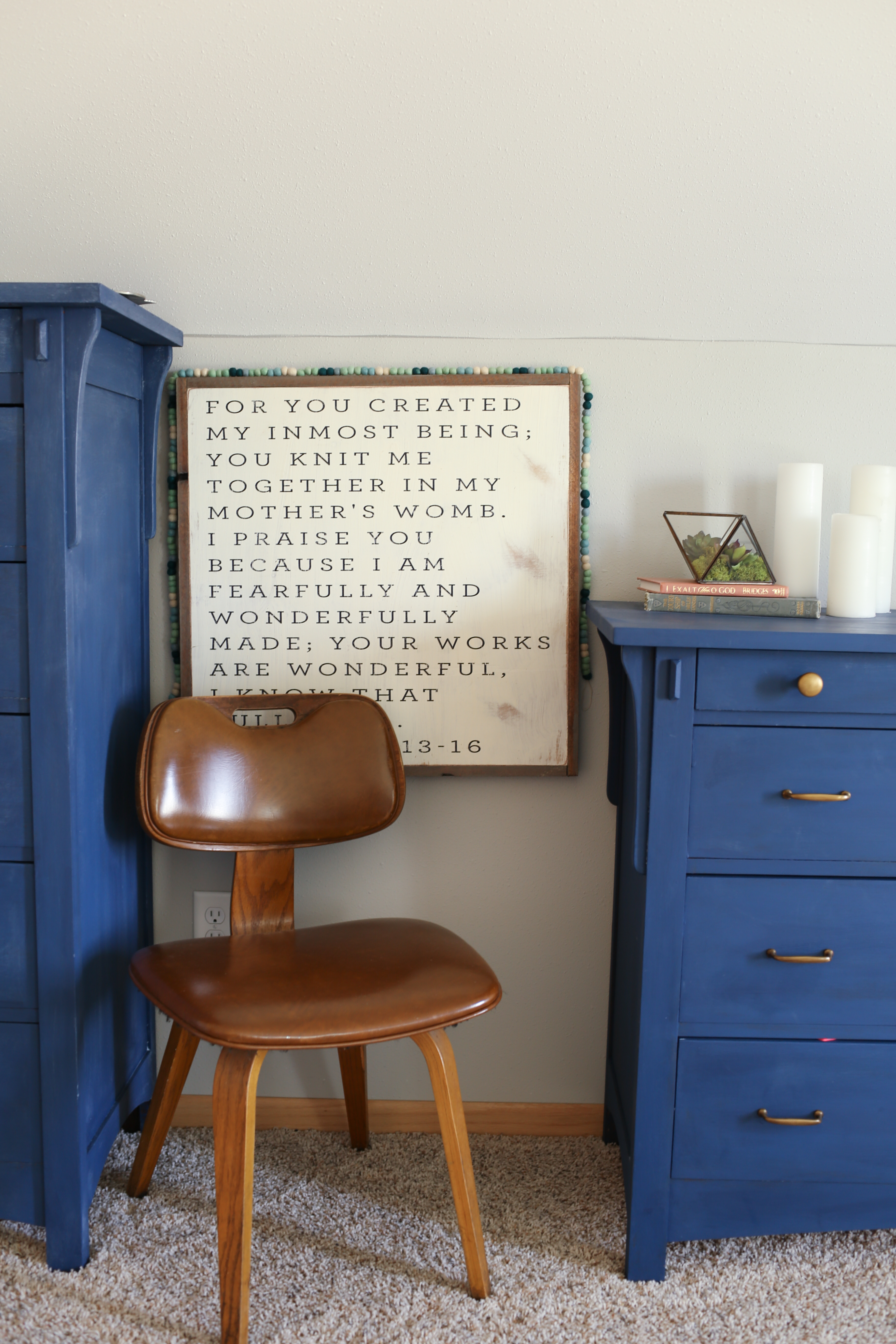 Vintage Bentwood Chair With Farmhouse Art And Blue Dresser The Dempster Logbook