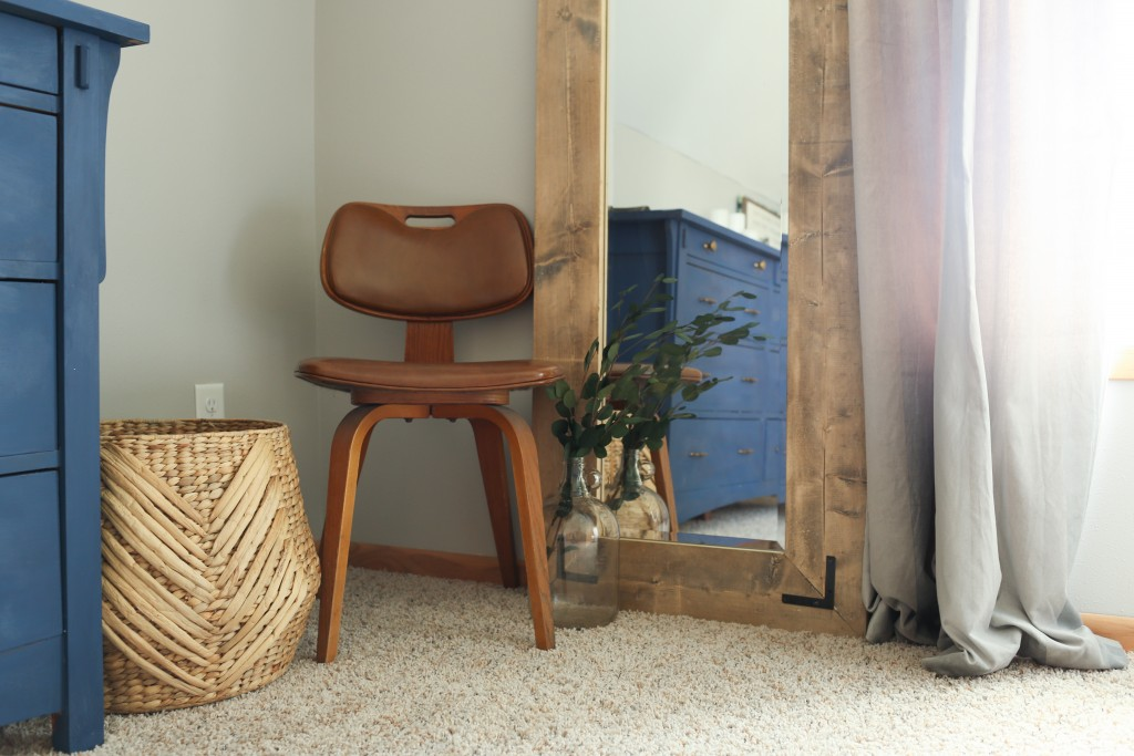 Bentwood chair with DIY farmhouse floor mirror. The Dempster Logbook.