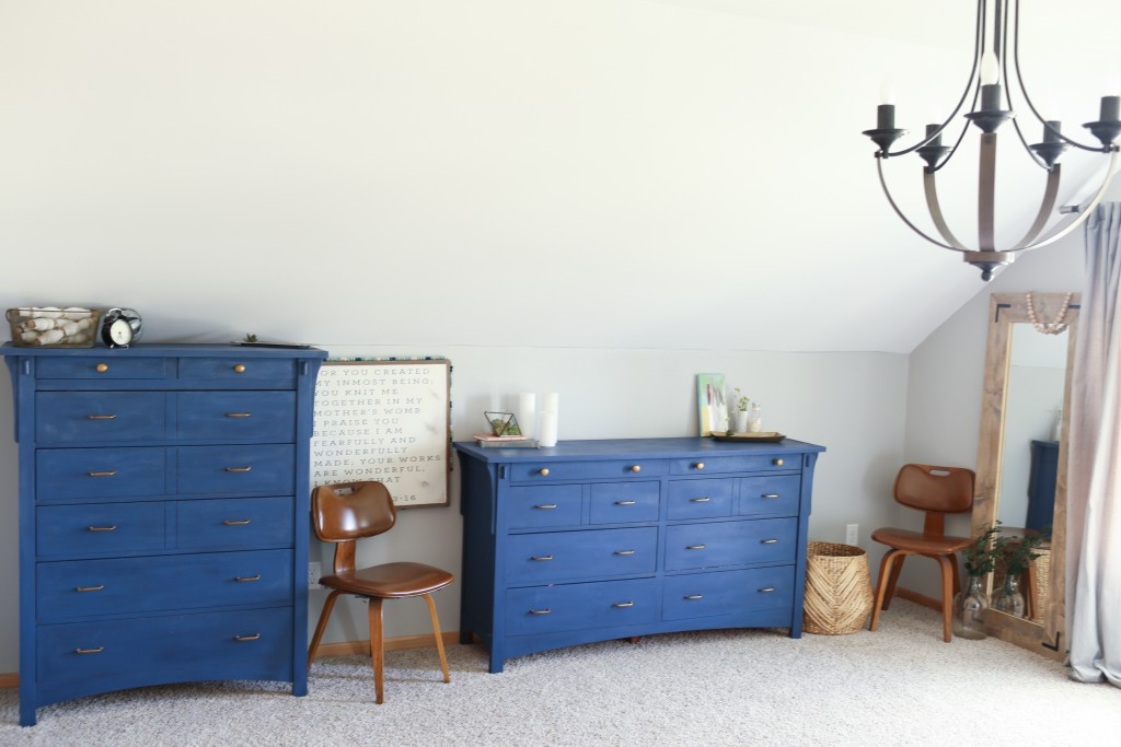 Gray and navy blue master bedroom. Complete with gold accents and DIY projects. The Dempster Logbook.