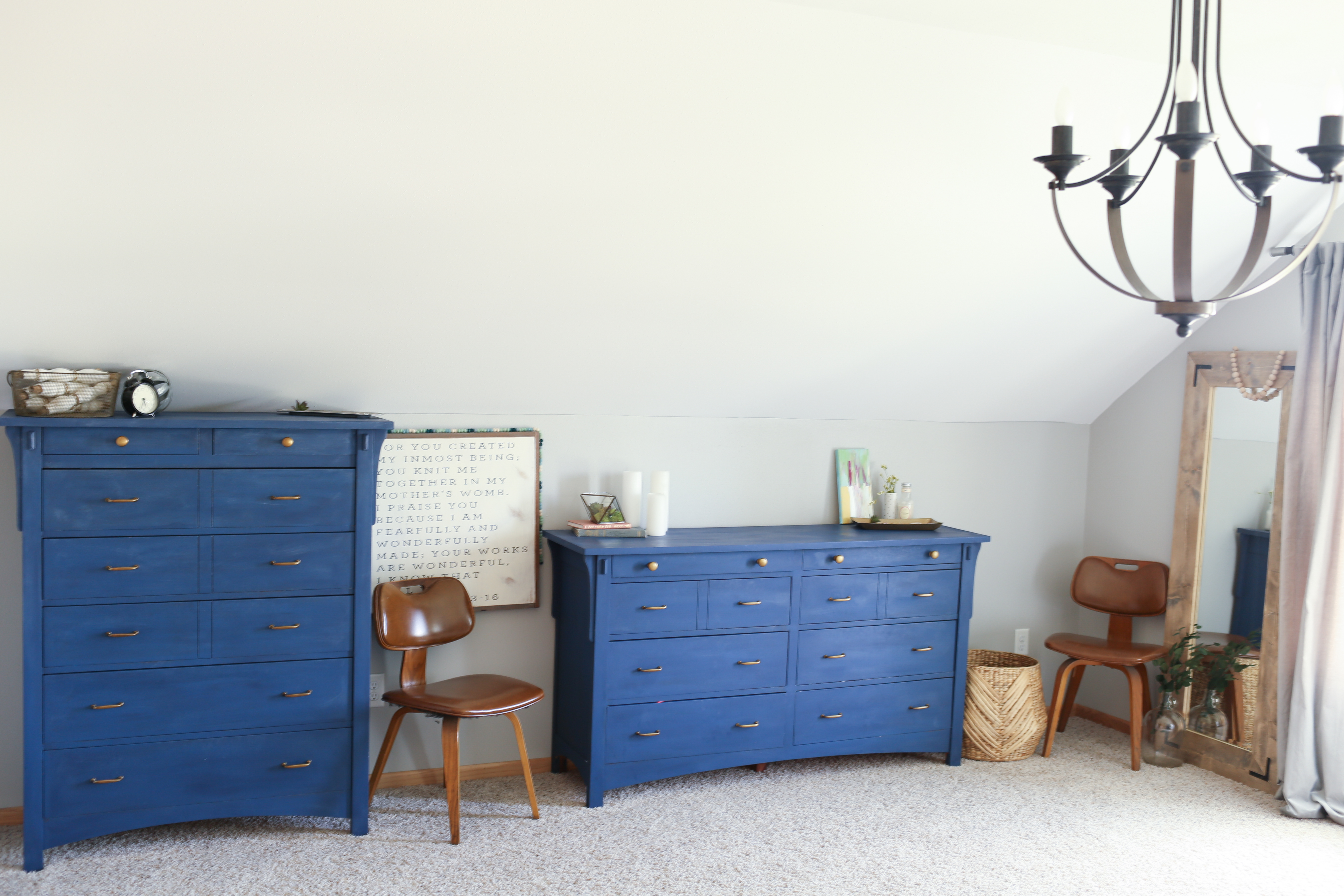 Gray And Navy Blue Bedroom Gray and navy blue master bedroom. Complete with gold accents and DIY  projects. The