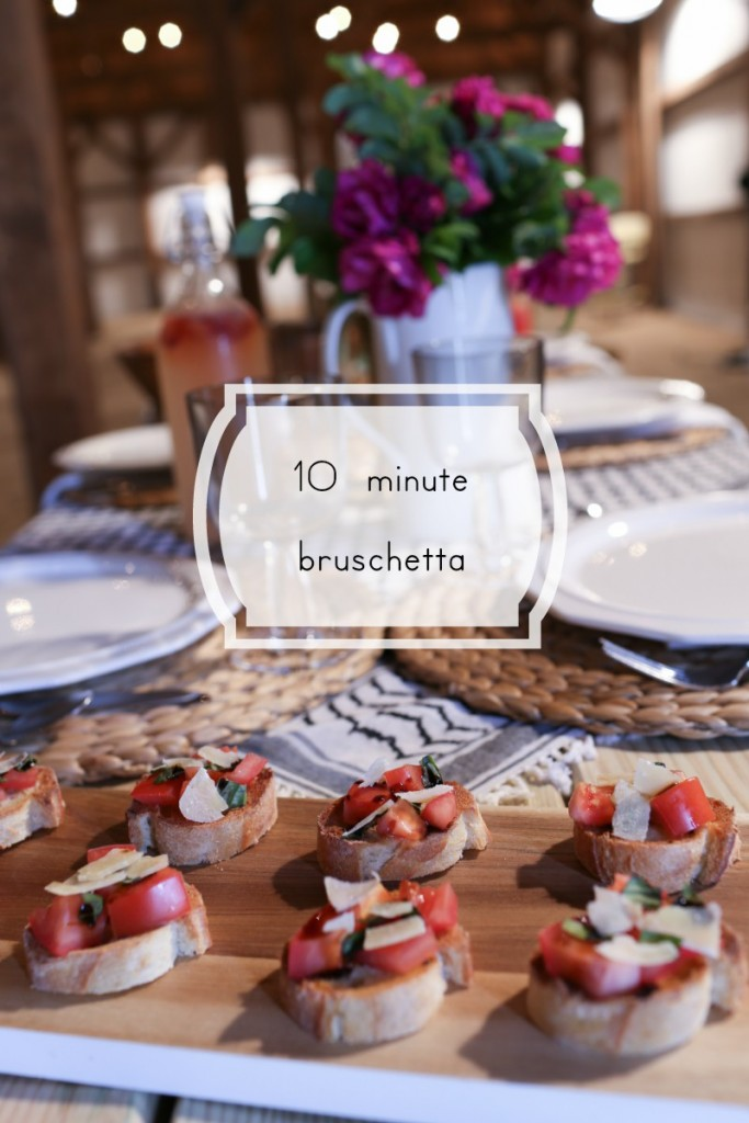 Easy bruschetta in 10 minutes.  The perfect combination of crispy bread and fresh toppings.