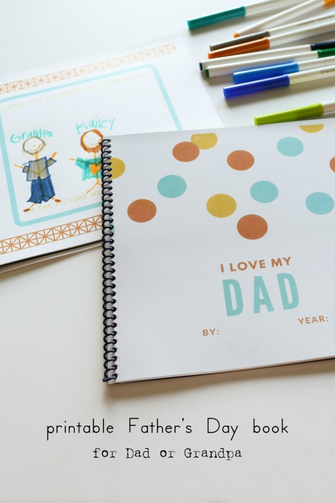 Free printable Father's Day book for Dad or Grandpa. A great way to treasure all of those special memories with a DIY Father's Day gift from kids. The Dempster Logbook.