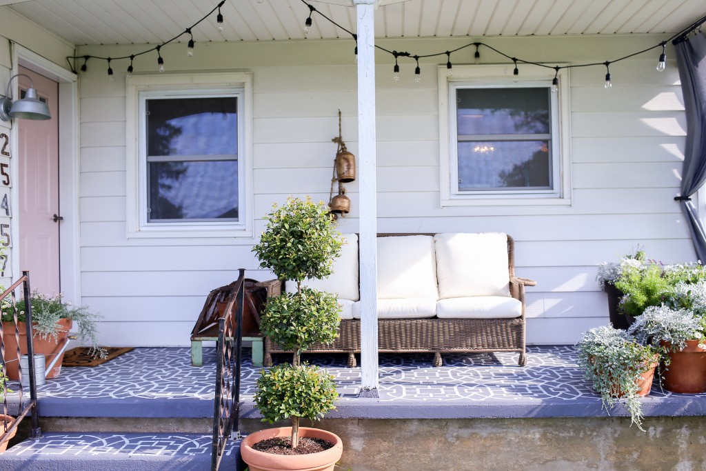 Cozy farmhouse front porch.