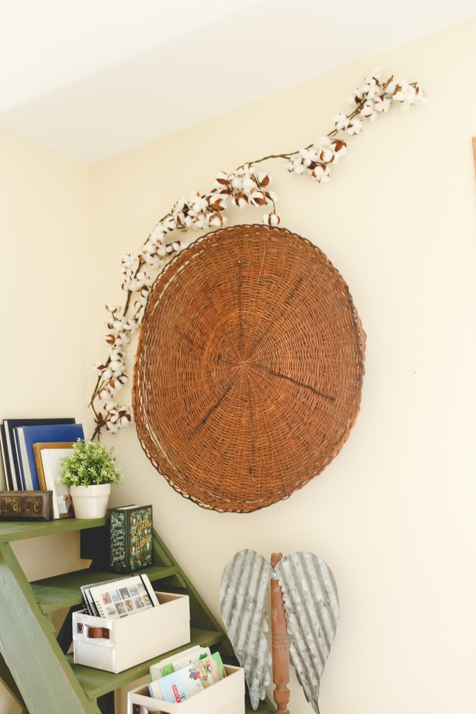 Giant basket hung on the wall of the hallway.