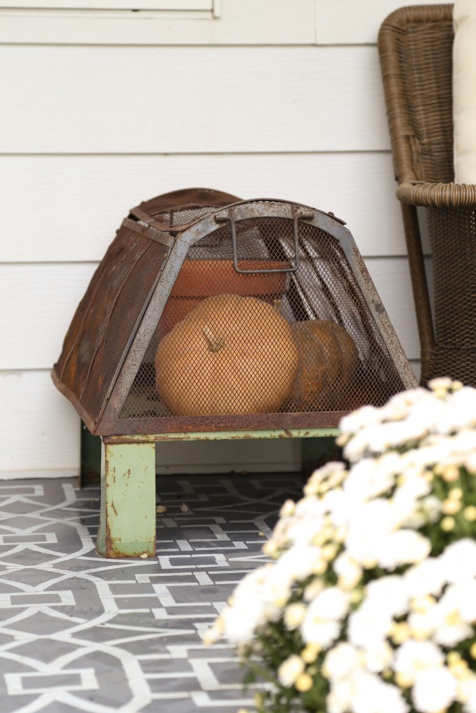 Industrial and rusty greenhouse ready for fall with muted orange pumpkins.