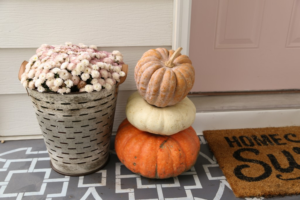 Blush pink door ready for fall with white and pink mums and pumpkins.