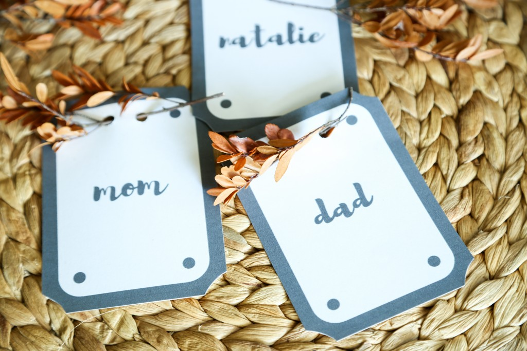 DIY place cards with step by step instructions for how to easily customize with your own names.