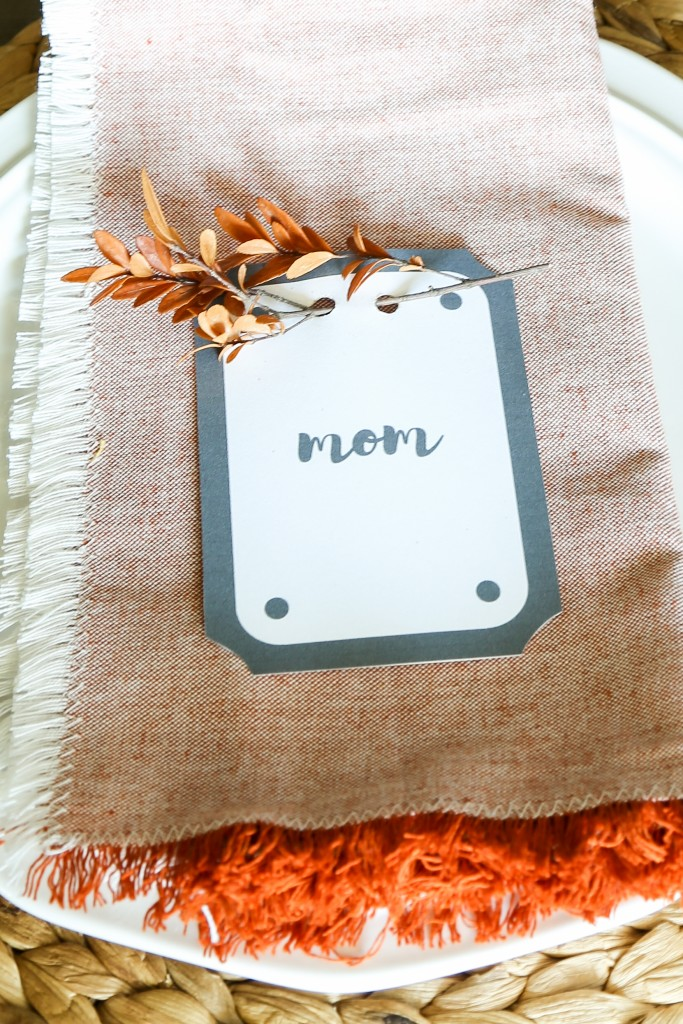 Simple place card with dried eucalyptus. A place card for Thanksgiving that can be printed from your computer.
