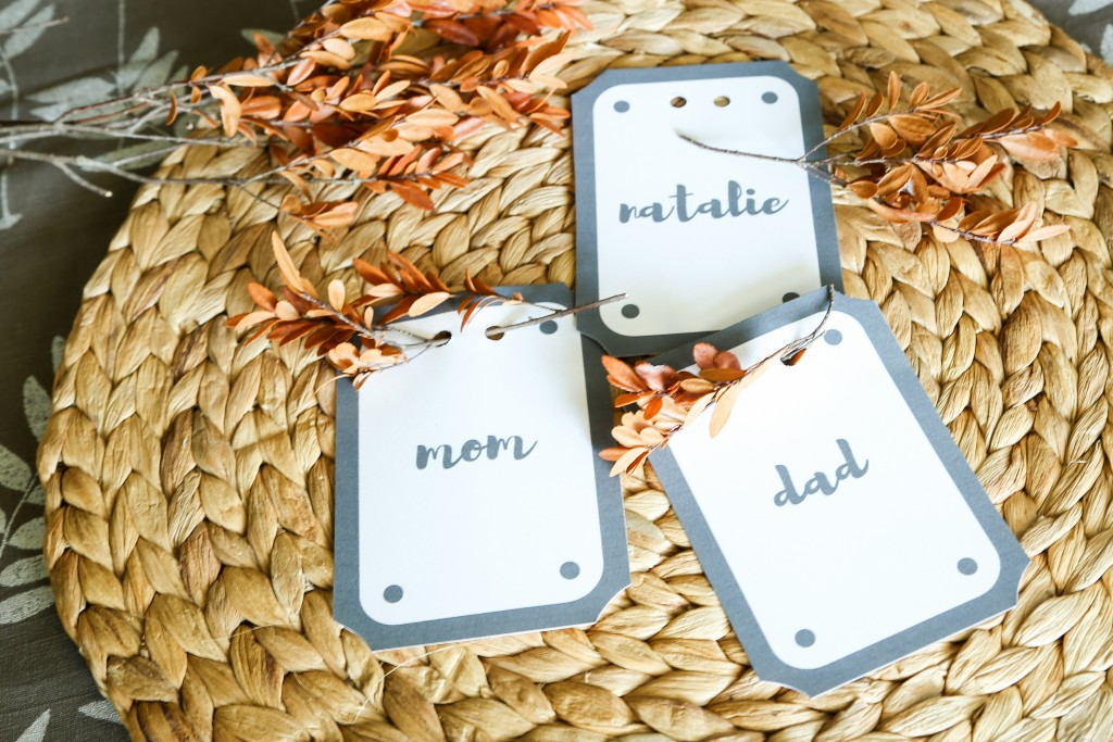 Printable place cards perfect for Thanksgiving, showers, or any gathering.