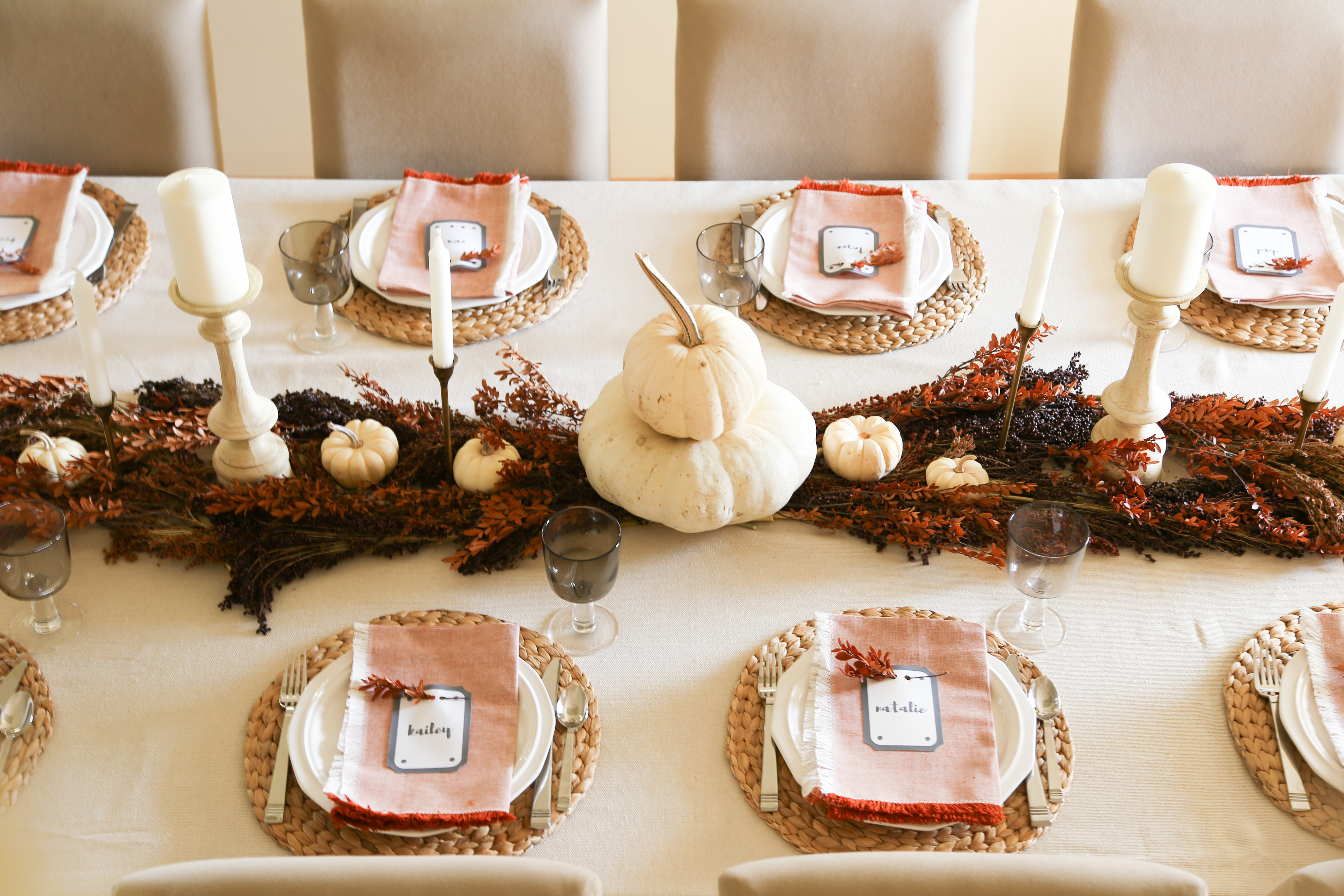 Orange and Neutral Farmhouse Thanksgiving Table