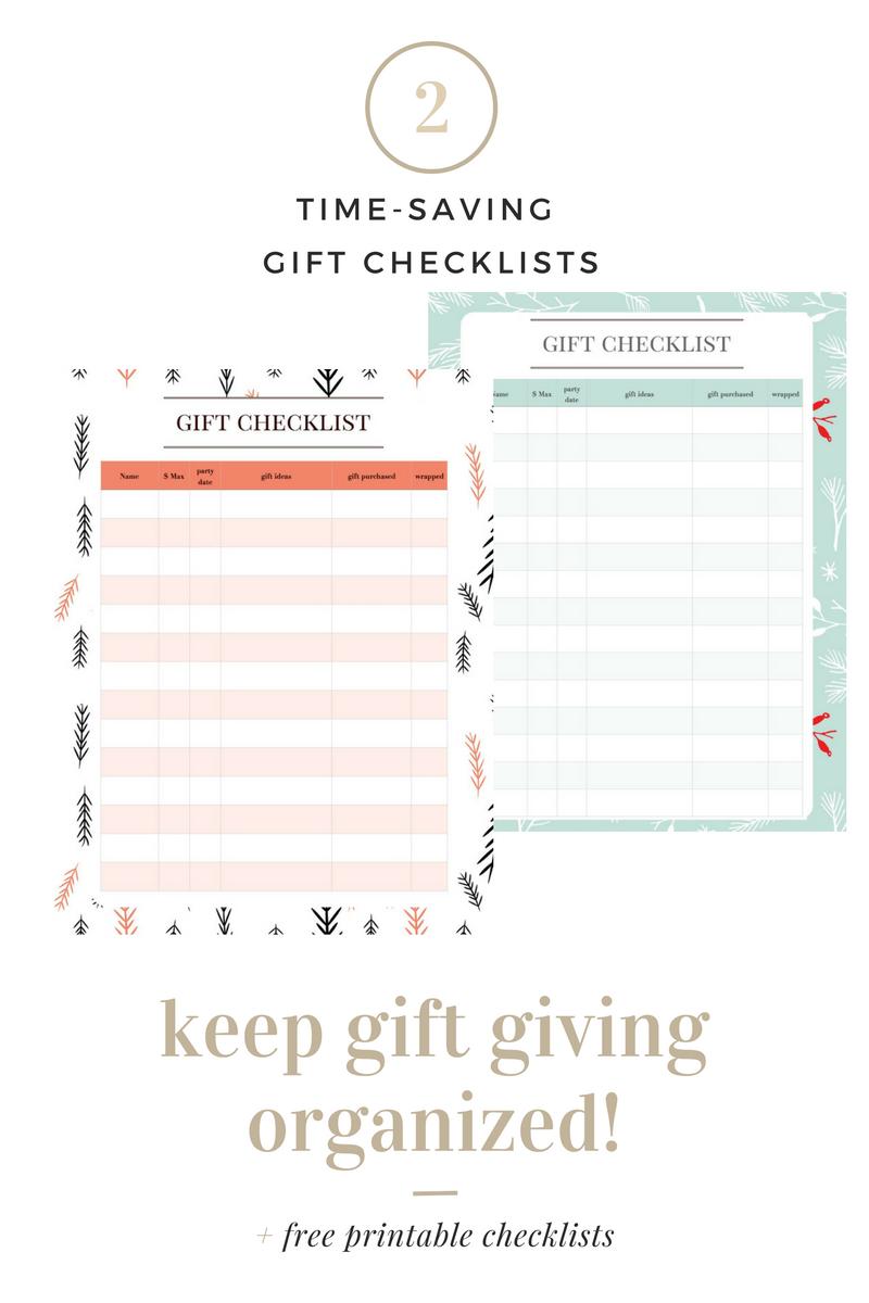 Gift Checklist Organizer