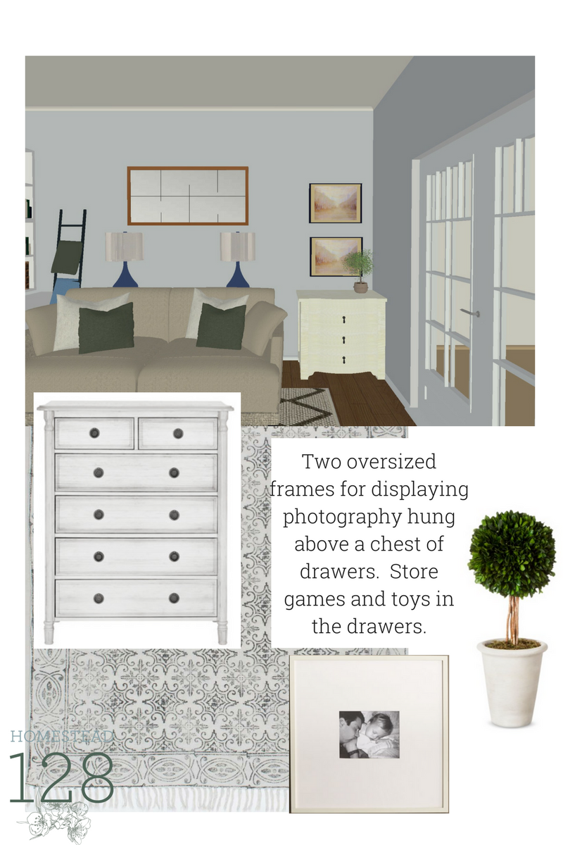 Design plans for a traditional living room with neutrals, and pops of green and blue. Design pages give you 3d images and everything you need to design a room that is both beautiful and functional.