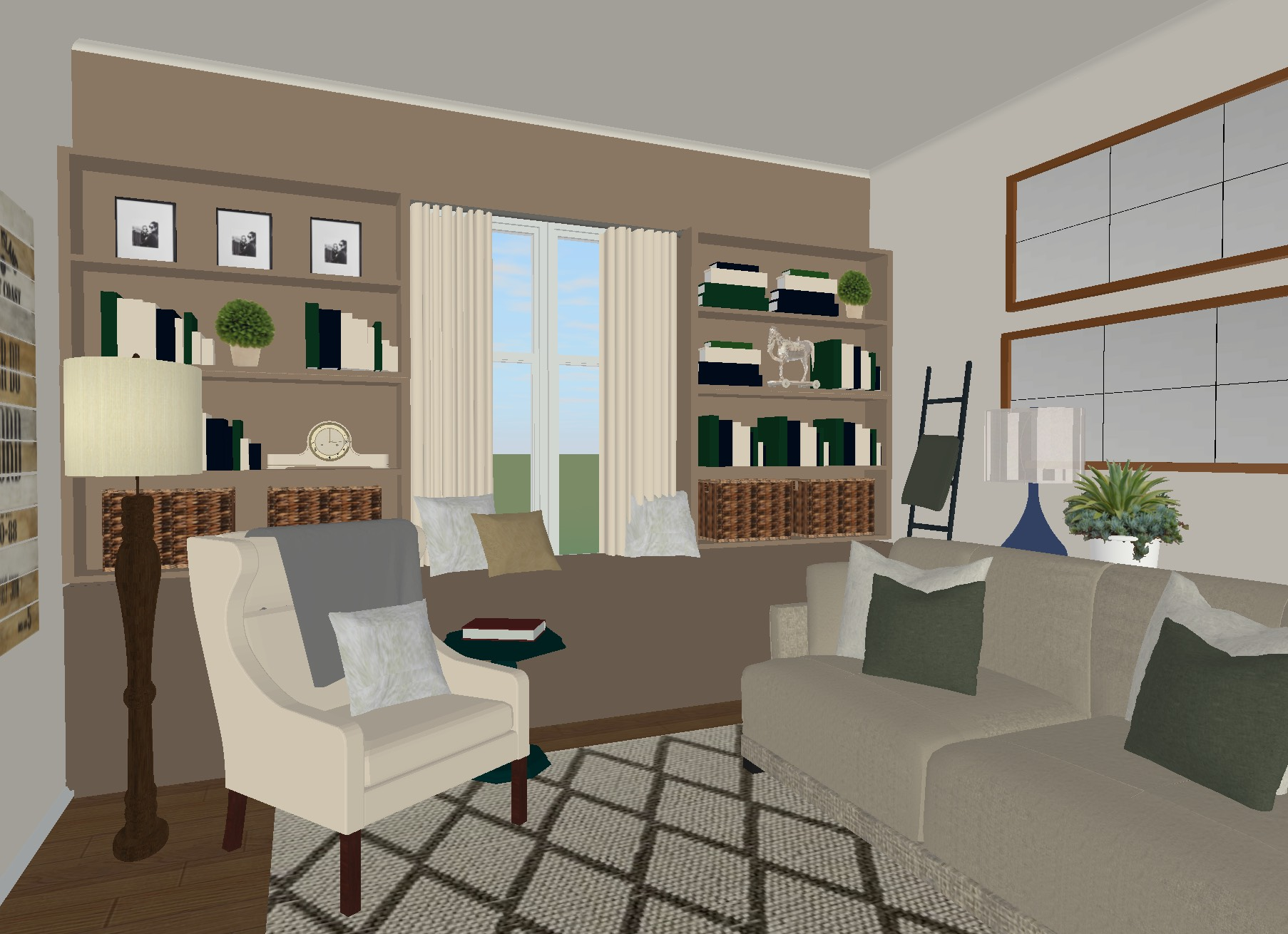 Traditional Neutral and Blue Living Room Room Plans