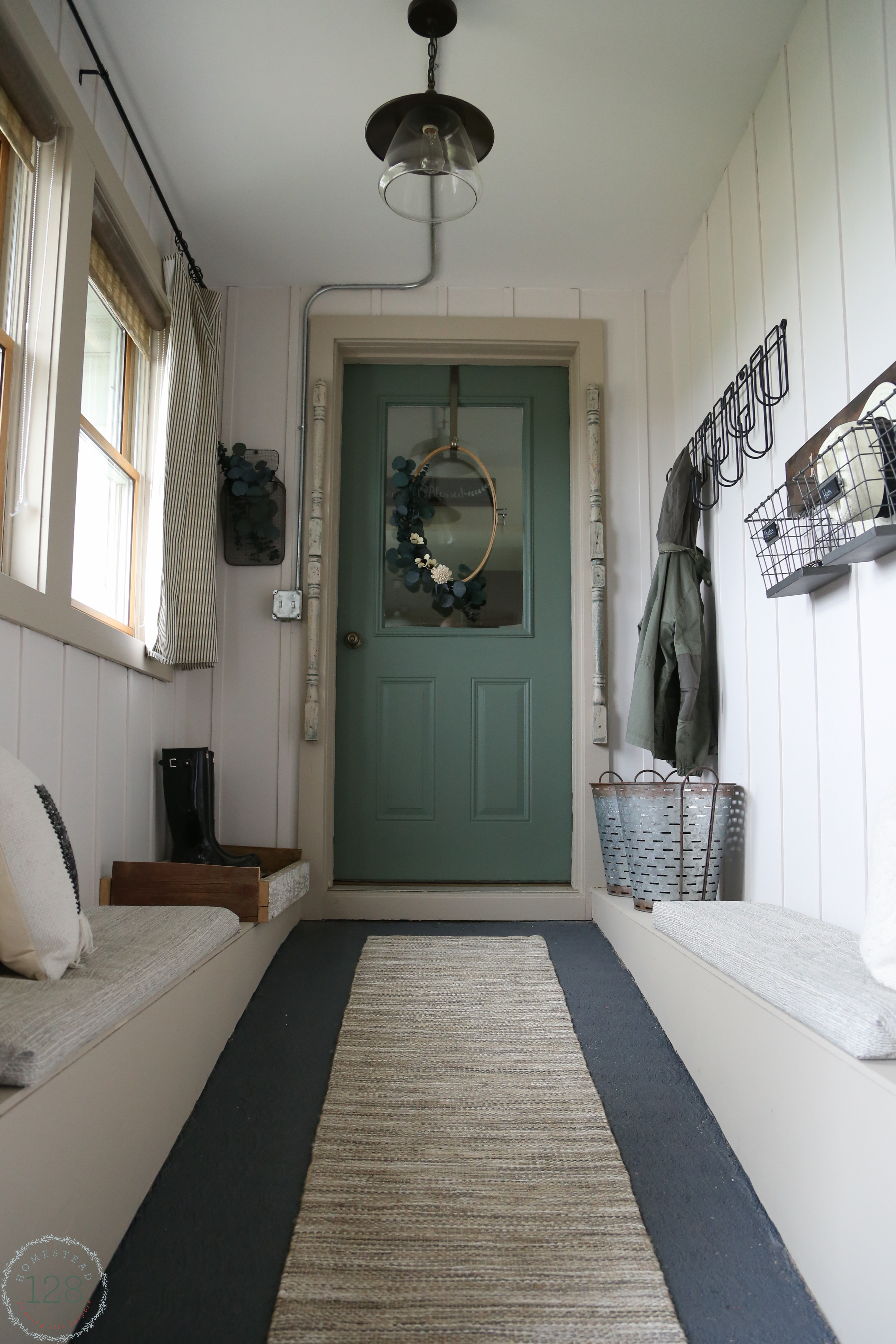 Modern farmhouse mudroom makeover - complete with white batten walls.