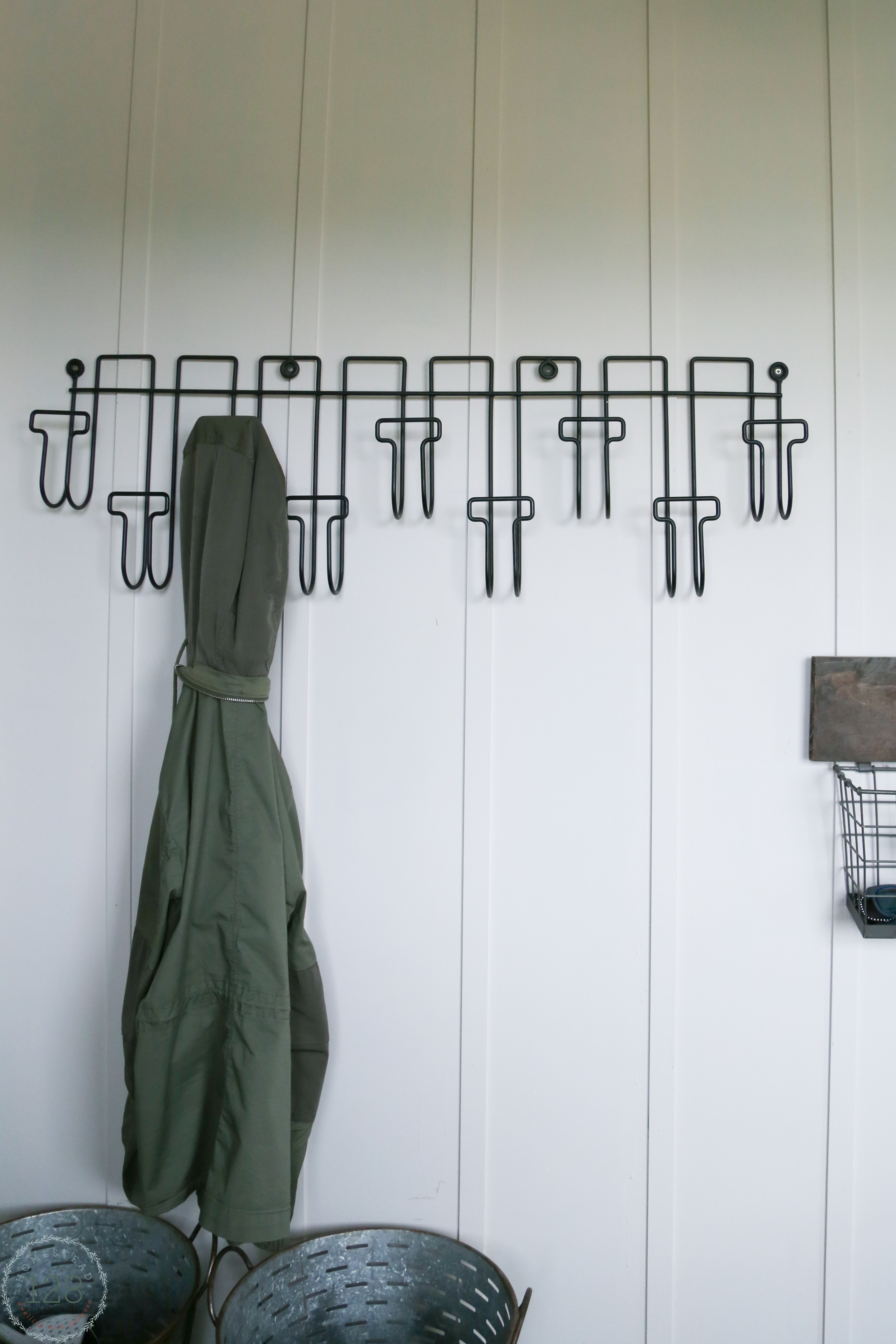 A place for everyones coat and hat in the mudroom.