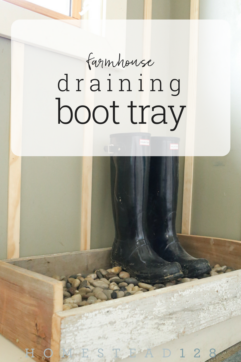 The draining boot tray DIY idea helps corral the dirty boots and shoes and helps them drain off the mud and water.