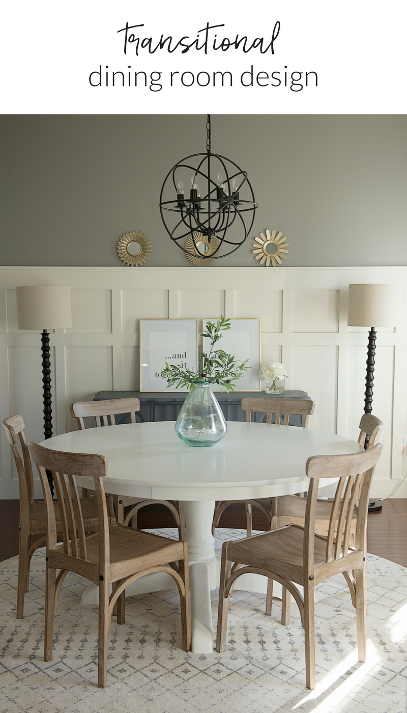 A transitional dining room design created through online design services.
